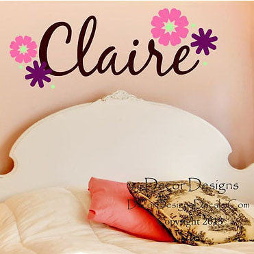 Flower Forest Custom Name Vinyl Wall Decal Stickers - Decor Designs Decals
