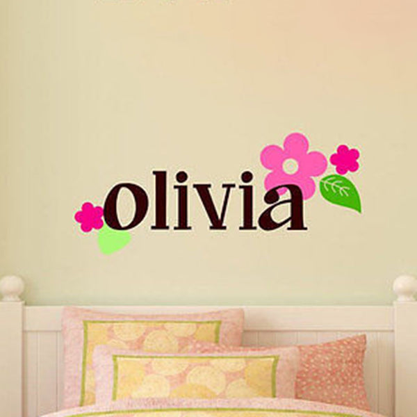Flower Swirl Custom Name Vinyl Wall Decal Sticker - Decor Designs Decals