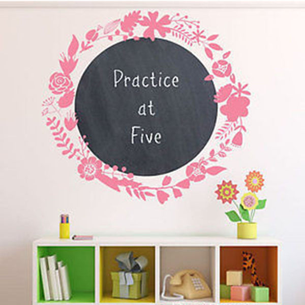 Flower Wreath Chalkboard Vinyl Wall Decal - Decor Designs Decals