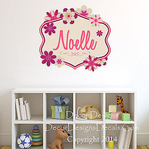 Flowers Monogram Custom Name Printed Fabric Repositionable Wall Decal Sticker - Decor Designs Decals