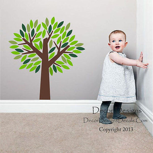 Fluffy Green Tree Vinyl Wall Decal Stickers - Decor Designs Decals