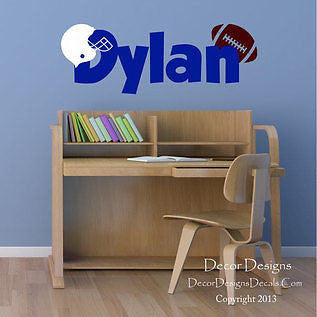 Football Custom Name Vinyl Wall Decal Sticker - Decor Designs Decals