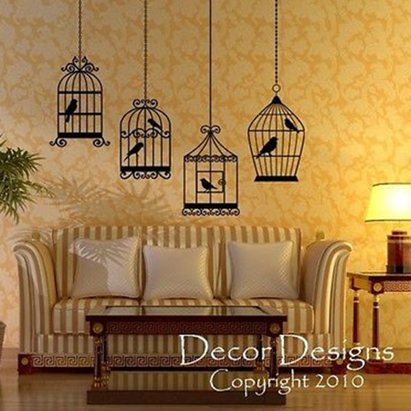 Four Bird Cages Vinyl Wall Decal - Decor Designs Decals