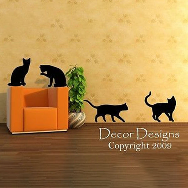 Four Playful Kitty Cats Vinyl Wall Decal Sticker - Decor Designs Decals