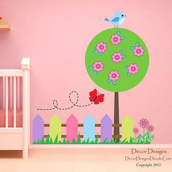 Garden Scene Printed Fabric Repositionable Wall Decal - Decor Designs Decals