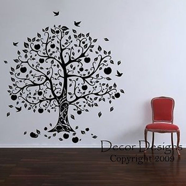 Gorgeous Apple and Birds Tree Vinyl Wall Decal Sticker - Decor Designs Decals