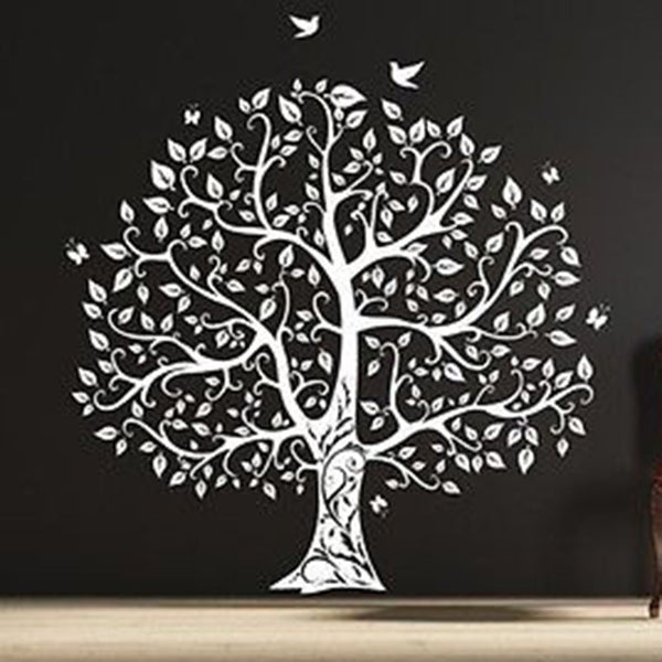 Gorgeous Leaved Bird and Butterfly Tree, Single Color Vinyl Wall Decal Sticker - Decor Designs Decals