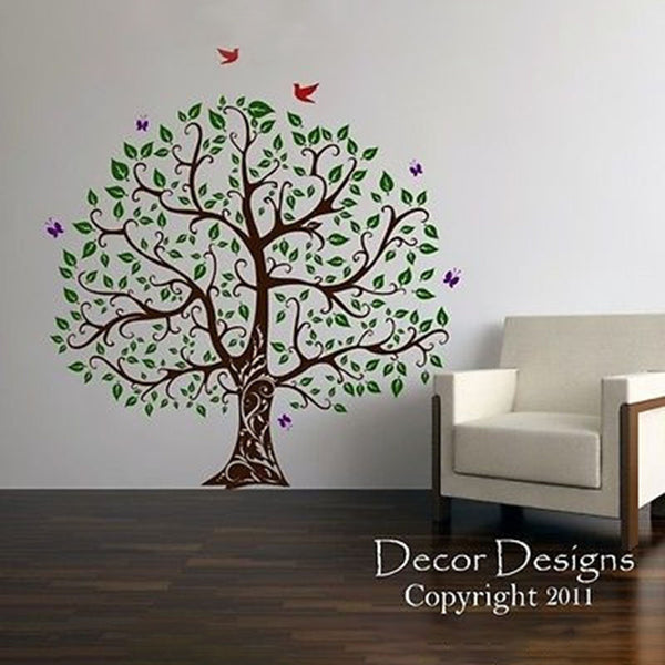 Gorgeous Leaved Bird and Butterfly Tree Vinyl Wall, Multiple Colors Decal Sticker - Decor Designs Decals