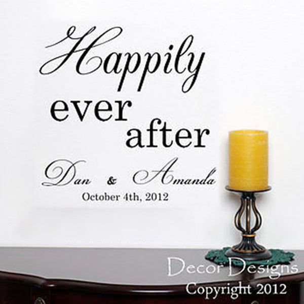 Happily Ever After Wedding Quote Vinyl Wall Decal Sticker - Decor Designs Decals