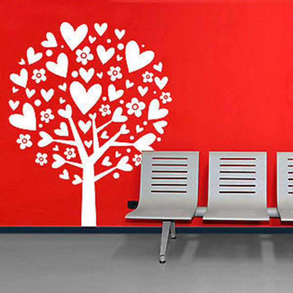 Heart Flower Tree Vinyl Wall Decal Sticker - Decor Designs Decals