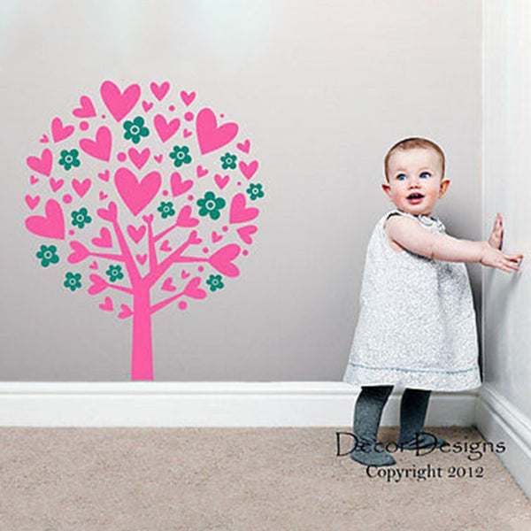 Heart Flower Tree Vinyl Wall Decal - Decor Designs Decals