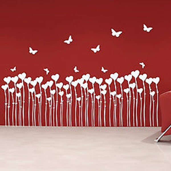 Heart Flowers and Butterflies Wall Decal - Decor Designs Decals