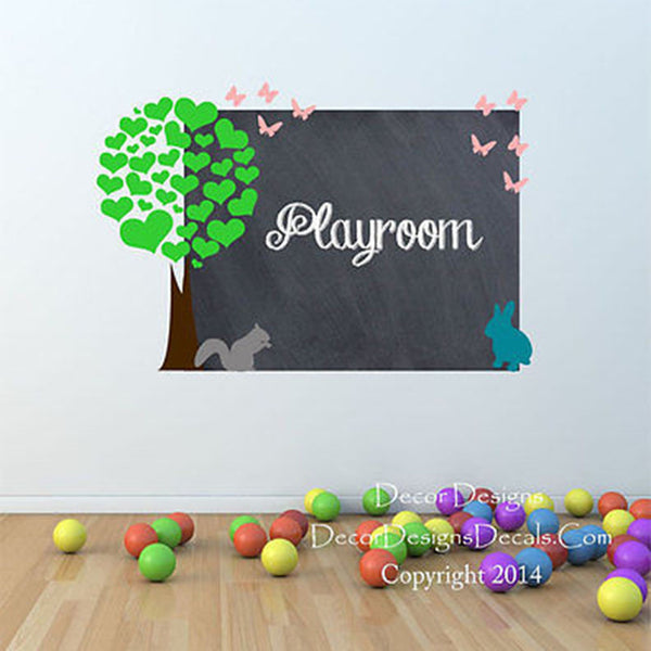 Heart Forest Chalkboard Vinyl Wall Decal - Decor Designs Decals