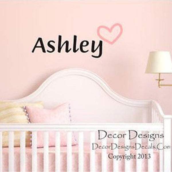 Heart Personalized Custom Name Vinyl Wall Decal Sticker - Decor Designs Decals