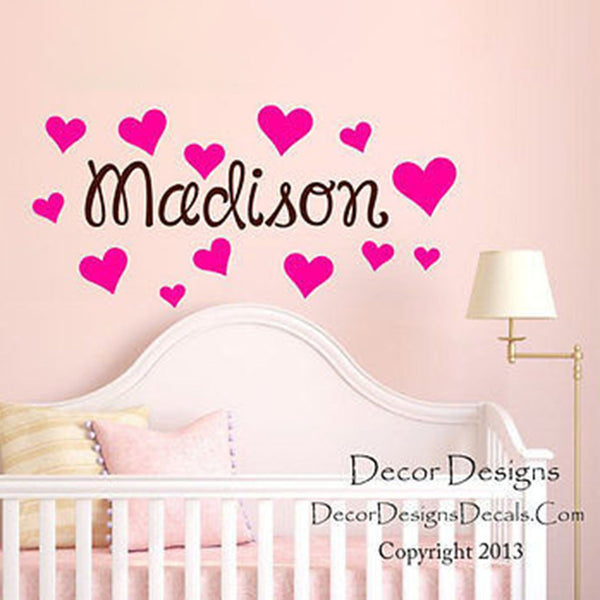 Hearts Custom Name Wall Decal - by Decor Designs Decals, girls name decals heart decals wall decals girls hearts princess decals nursery decals girls name stickers - Decor Designs Decals - 1