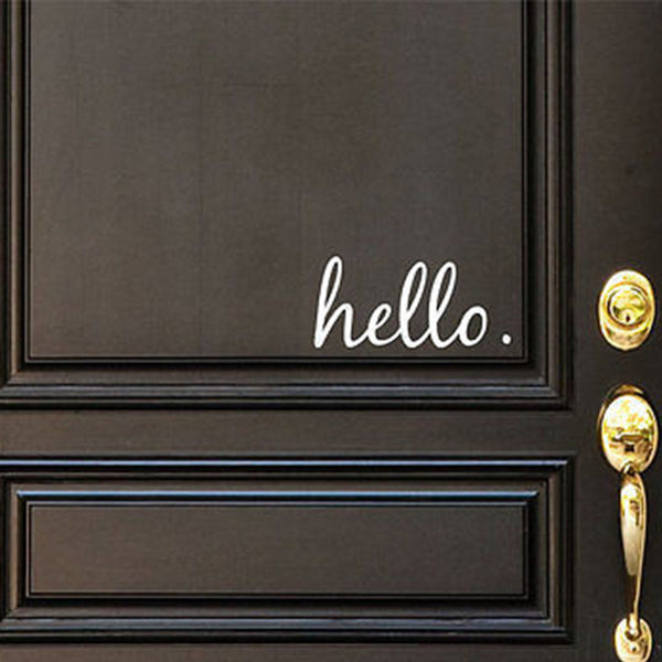 Hello Vinyl Door Decal - Hello Front Door Decals, Hello Home Office Decor, Custom Vinyl Decal, Hello Vinyl Hello Decal, Front Door Greet- H31 - Decor Designs Decals - 1