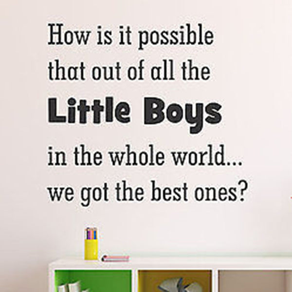 How is it Possible That Out Little Boys Quote Varied Size Vinyl Wall Decal - Decor Designs Decals