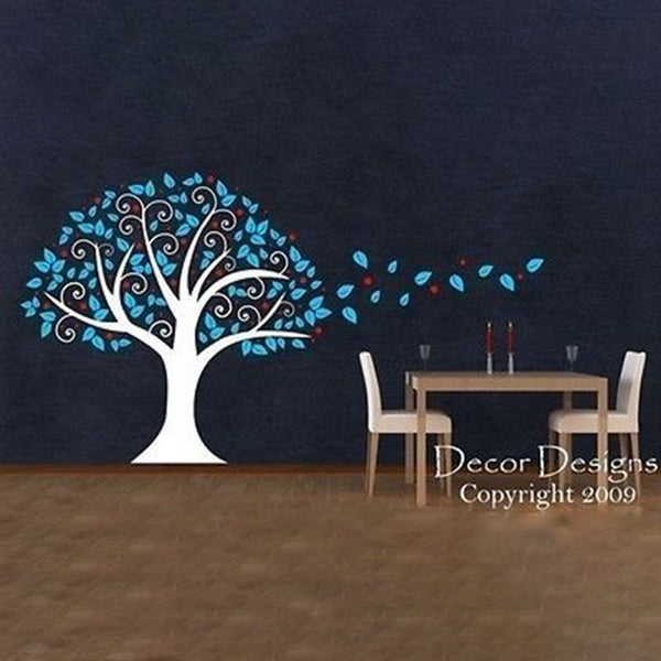 Huge 6 Foot Tree Blowing in the Wind Vinyl Wall Decal Sticker - Decor Designs Decals