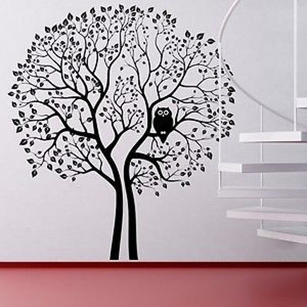 Huge 8 Foot Tall Owl Tree Vinyl Wall Decal Sticker - Decor Designs Decals