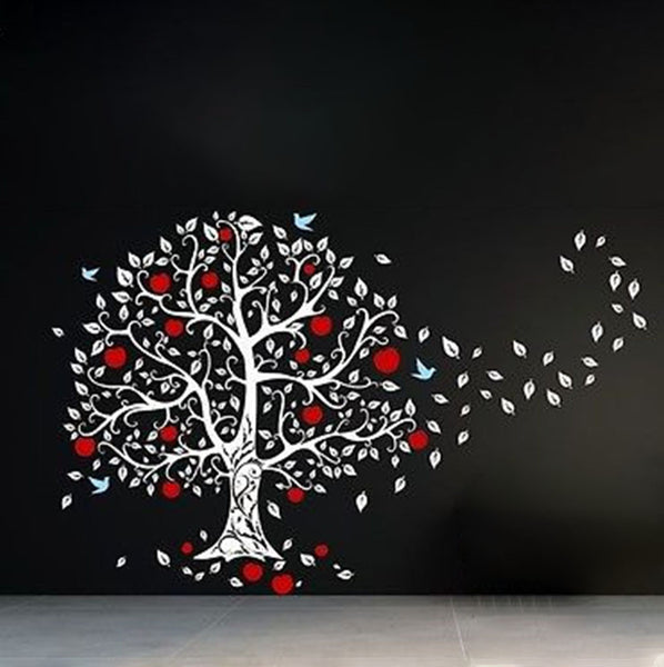 Huge Apple Tree Blowing in the Wind Vinyl Wall Decal Sticker - Decor Designs Decals