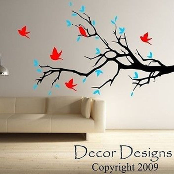 Huge Birds and Blossoms Vinyl Wall Decal Sticker - Decor Designs Decals
