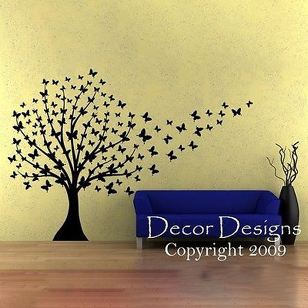 Huge Butterfly Tree Vinyl Wall Decal With Trailing Butterflies - Decor Designs Decals