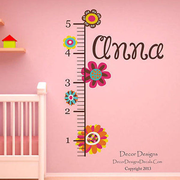 Flower Growth Chart Wall Decal - Decor Designs Decals - 1