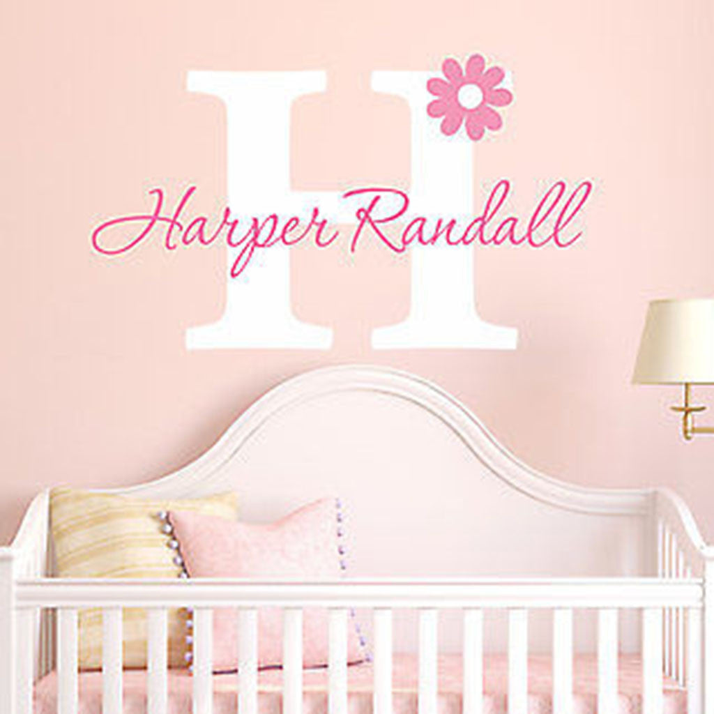 Initial And Name Personalized Vinyl Wall Decal Stickers