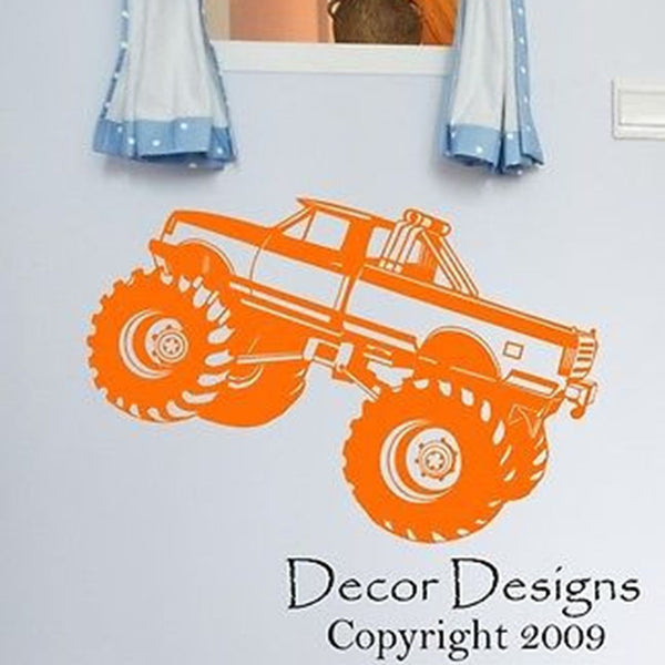 "Kid's Monster Truck Vinyl Wall Decal Sticker 24"" W by 16"" H. - Decor Designs Decals"