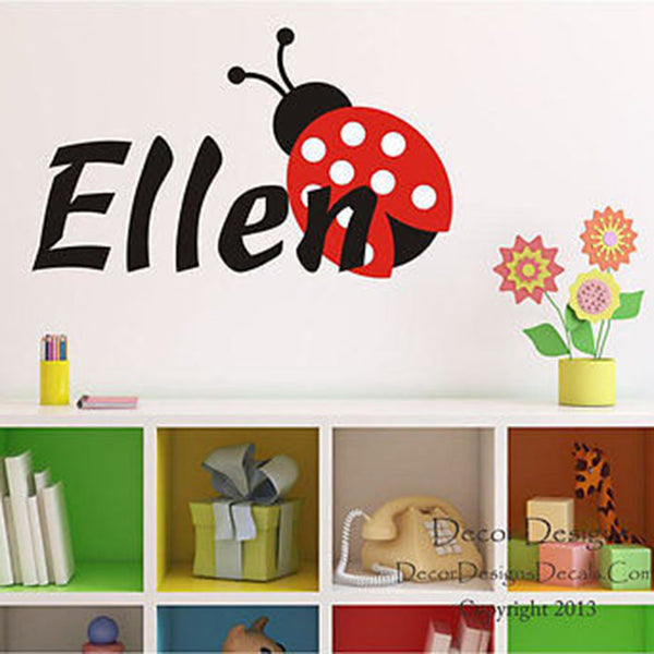 Ladybug Custom Name Printed Fabric Repositionable Wall Decal - Decor Designs Decals