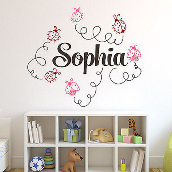 Ladybugs Custom Name Vinyl Wall Decal Sticker - Decor Designs Decals
