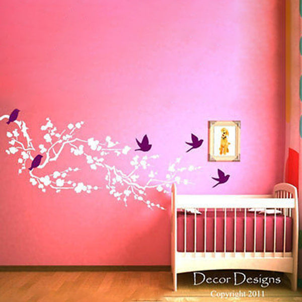 Large Birds Around the Cherry Blossom Branch Wall Decal Sticker. - Decor Designs Decals