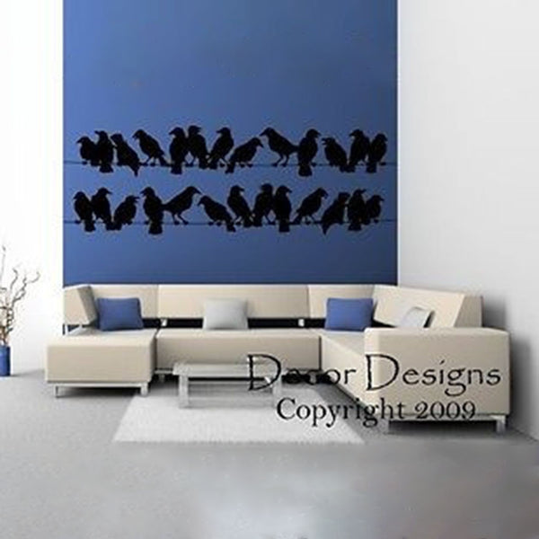 Large Birds on a Wire Vinyl Wall Decal Sticker - Decor Designs Decals