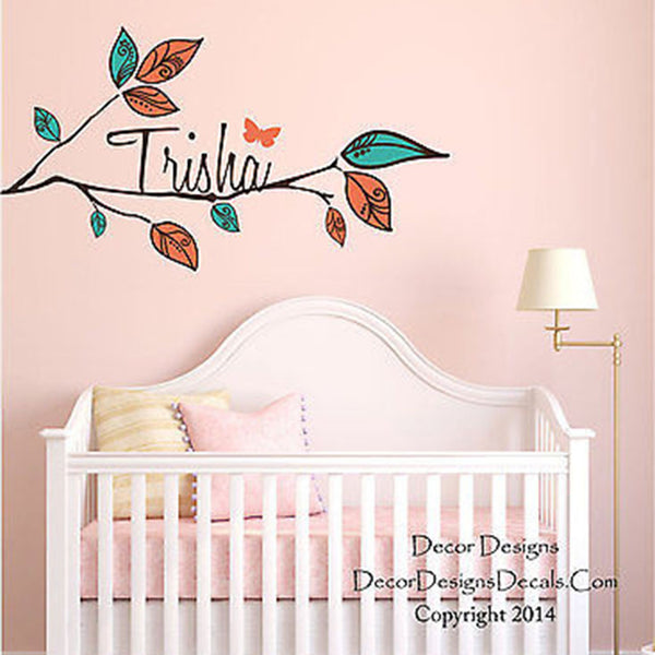Leaved Branch Custom Name Printed Fabric Repositionable Wall Decal Sticker - Decor Designs Decals