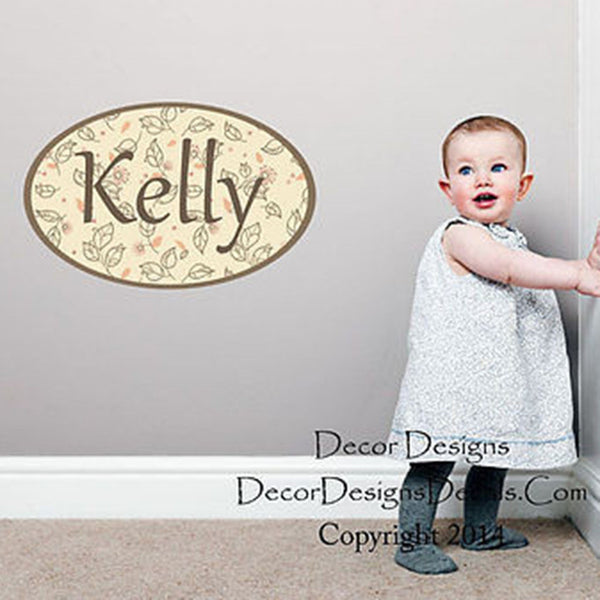 Leaves Custom Name Printed Fabric Repositionable Wall Decal Sticker - Decor Designs Decals