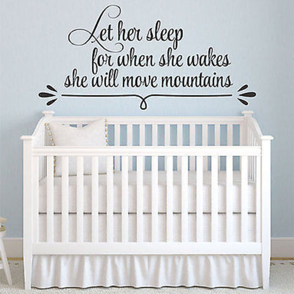 Let Her Sleep For When She Awakes She Will Move Mountains Quote Vinyl Wall Decal - Decor Designs Decals