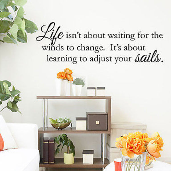 Life Isn't About Waiting Winds Change Quote Vinyl Wall Decal Sticker - Decor Designs Decals