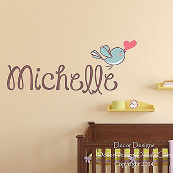 Love Bird Custom Name Printed Fabric Repositionable Wall Decal Sticker - Decor Designs Decals