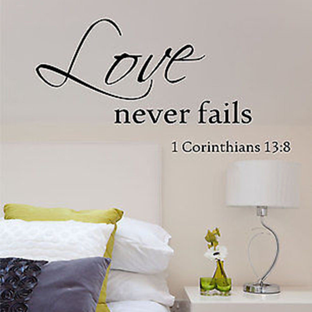 Love Never Fails Quote Vinyl Wall Decal Sticker   Decor Designs Decals