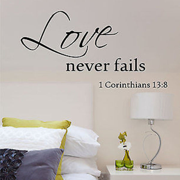 Love Never Fails Quote Vinyl Wall Decal Sticker - Decor Designs Decals