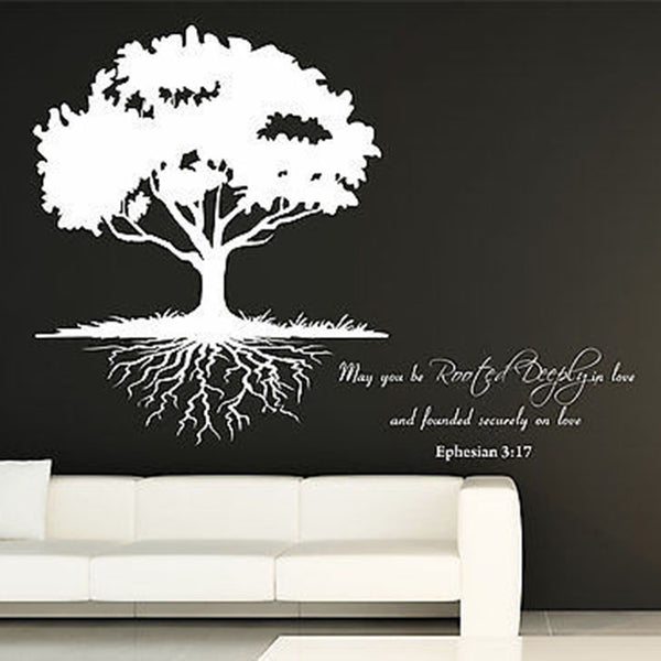 May You Be Rooted Deeply...Quote and Roots Tree Vinyl Wall Decal Sticker. - Decor Designs Decals