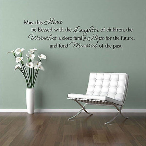 May this Home be Blessed...Family Quote Vinyl Wall Decal Sticker - Decor Designs Decals