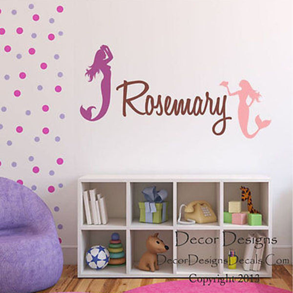 Mermaid Custom Name Vinyl Wall Decal Sticker - Decor Designs Decals