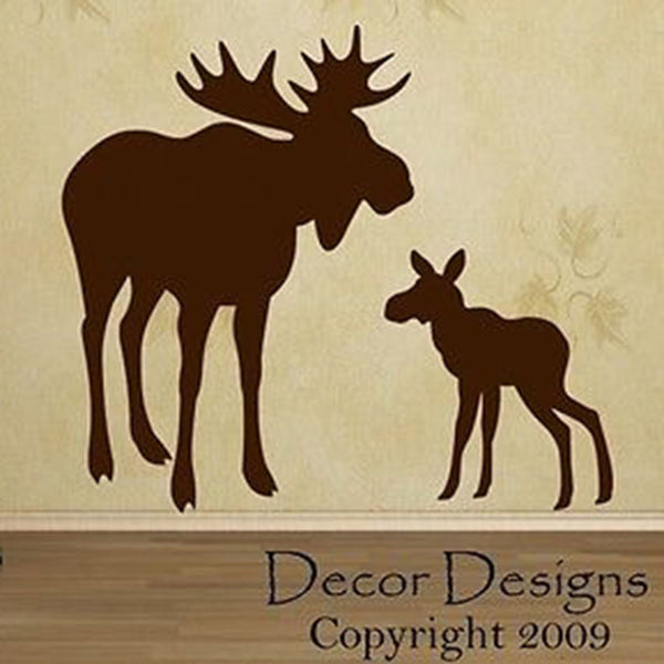 Mom And Baby Moose Vinyl Wall Decal Sticker - Decor Designs Decals