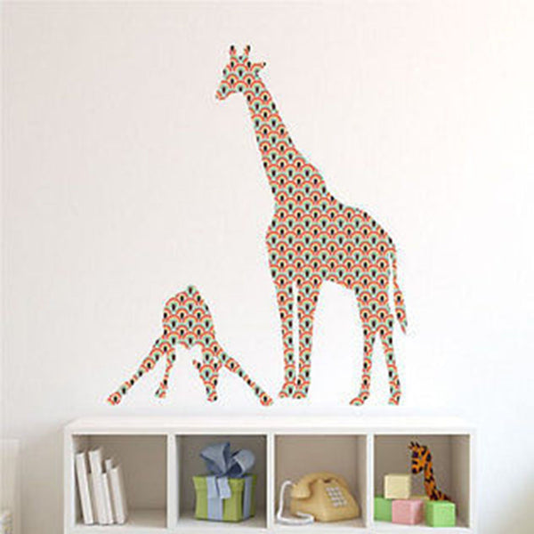 Mom Baby Giraffe Retro Waves Patterned Printed Fabric Repositionable Wall Decal - Decor Designs Decals