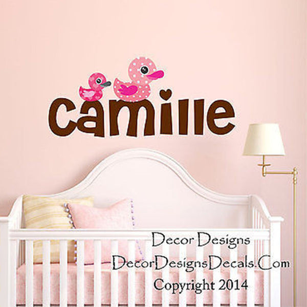 Mom and Baby Ducks Custom Name Printed Fabric Repositionable Wall Decal - Decor Designs Decals