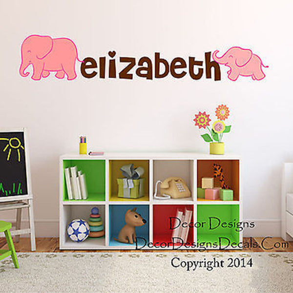 Mom and Baby Elephant  Custom Name Printed Fabric Repositionable Wall Decal - Decor Designs Decals