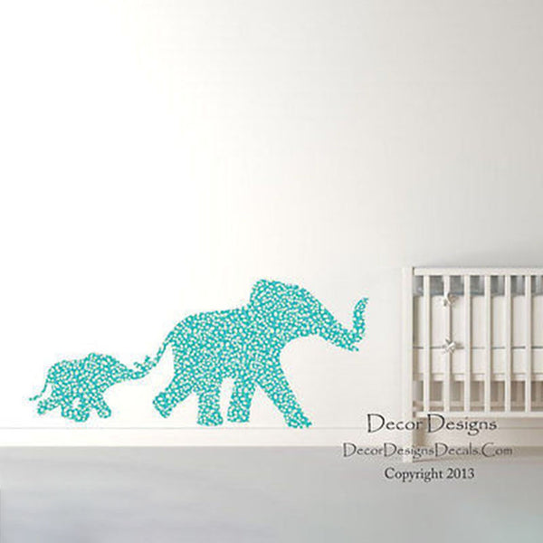 Mom and Baby Elephants Blue Plants Patterned Printed Fabric Wall Decal Sticker - Decor Designs Decals