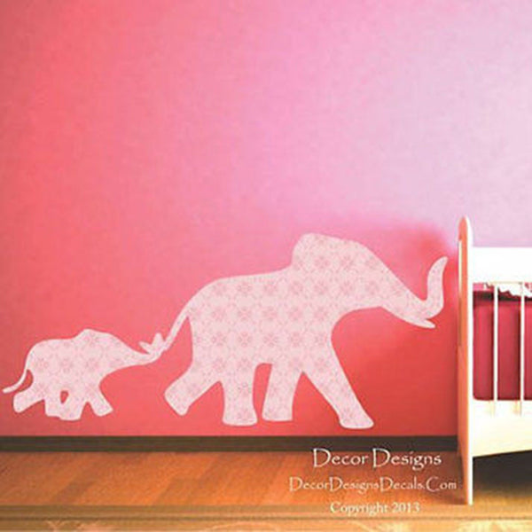 Mom and Baby Elephants Pink Flower Patterned Fabric Repositionable Wall Decal - Decor Designs Decals
