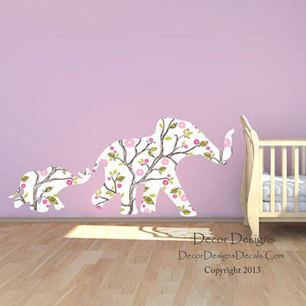 Mom and Baby Elephants Plants Vines Patterned Printed Repositionable Wall Decal - Decor Designs Decals